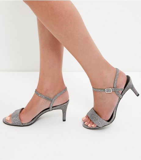 Silver Glitter Ankle Strap Heeled Sandals | New Look