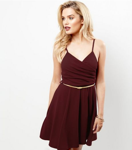 Burgundy Crepe Belted Skater Dress | New Look