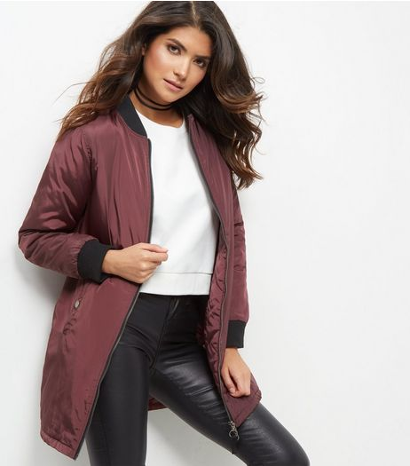 Burgundy Padded Longline Bomber Jacket  | New Look