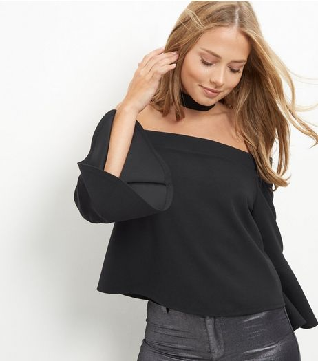 Black Bardot Neck Flared Sleeve Top | New Look