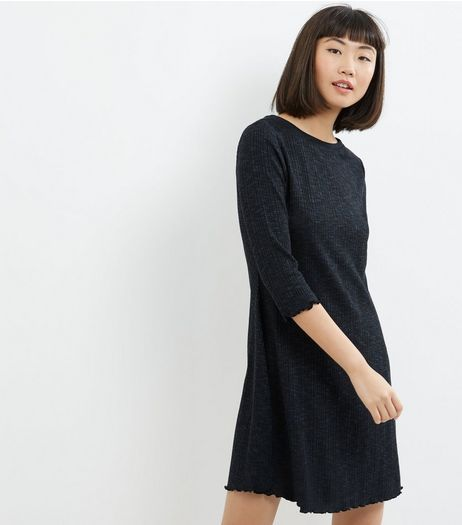 Navy Ribbed 3/4 Sleeve Swing Dress | New Look
