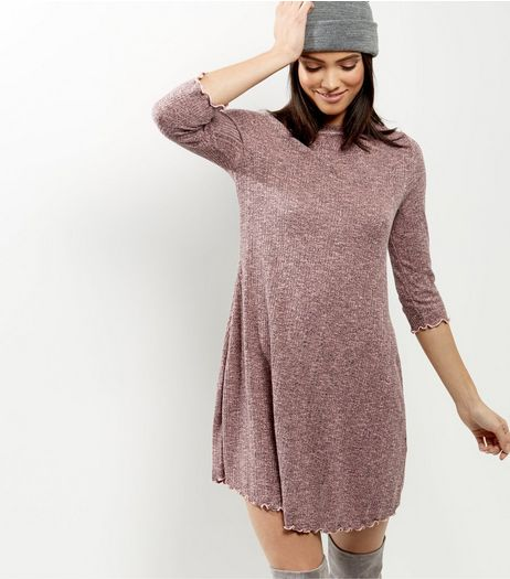 Mid Pink Ribbed 3/4 Sleeve Swing Dress | New Look