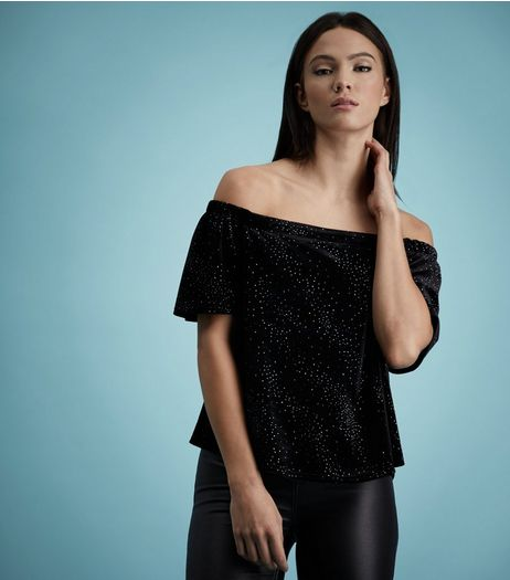 Black Glitter Velvet Bardot Neck Top  | New Look