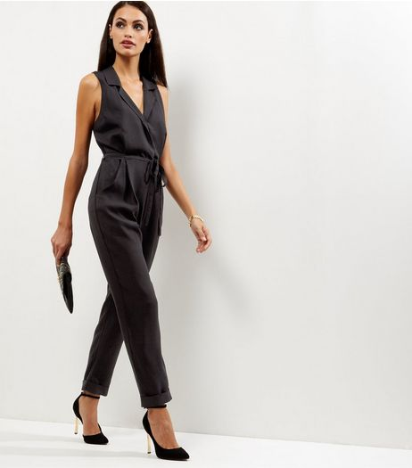 Black Crepe Sleeveless Jumpsuit  | New Look