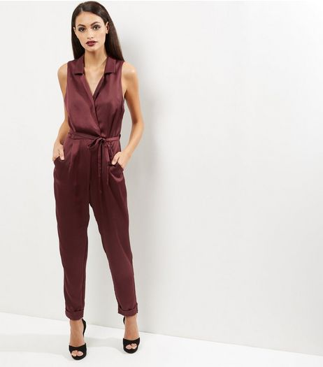 Burgundy Crepe Sleeveless Jumpsuit | New Look