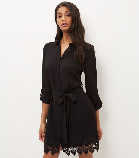 Cameo Rose Black Crochet Hem Shirt Dress | New Look