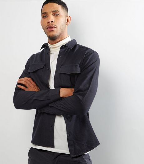 Navy Double Pocket Long Sleeve Shirt | New Look