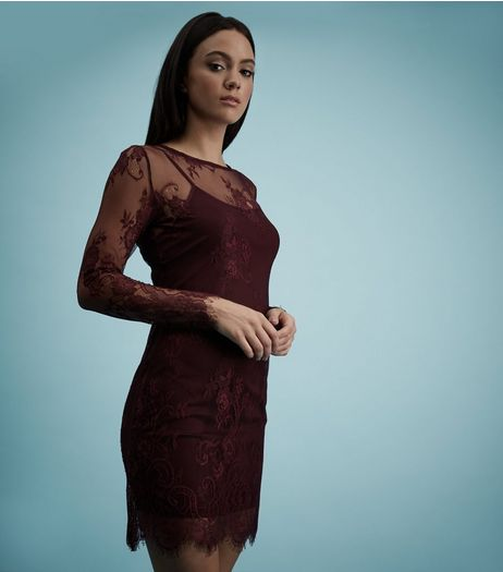 Burgundy Sheer Panel Lace Long Sleeve Bodycon Dress | New Look