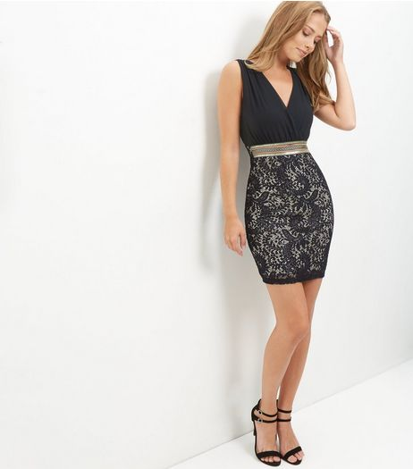 Black Wrap Front Lace Panel Dress  | New Look