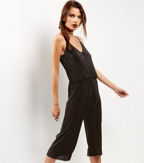 Black Pleated Layered Jumpsuit | New Look