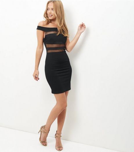 Black Mesh Panel Bardot Neck Mini Dress  | New Look