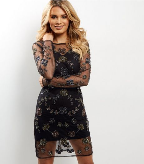 Black Mesh Floral Embellished Bodycon Dress | New Look