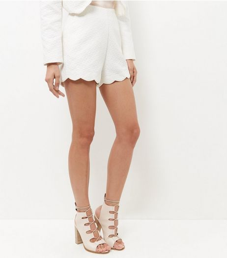 Cameo Rose Cream Scallop Hem Shorts | New Look