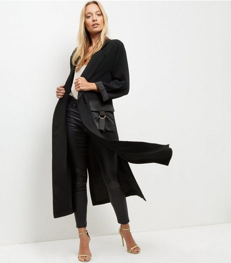 Cameo Rose Black Double Pocket Longline Jacket | New Look