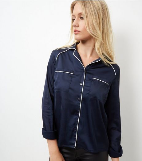 Cameo Rose Navy Satin Contrast Trim Pyjama Shirt | New Look