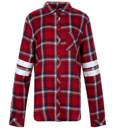 Teens Red Check 98 Print Stripe Sleeve Shirt | New Look