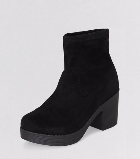 Teens Black Suedette Sock Boots | New Look