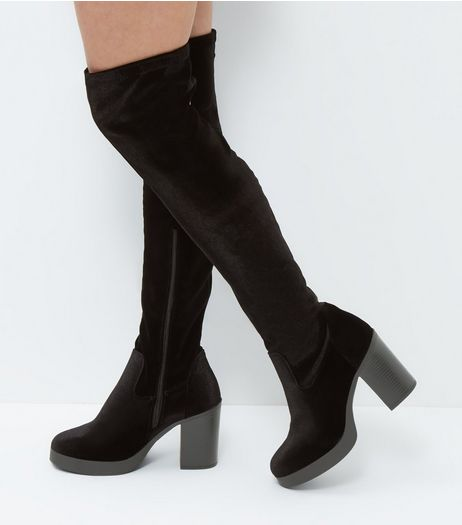 Wide Fit Black Velvet Over The Knee Boots  | New Look