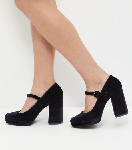Wide Fit Black Velvet Strap Front Block Heels  | New Look