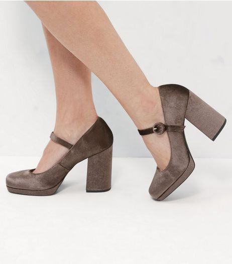 Wide Fit Grey Velvet Strap Front Platform Heels  | New Look