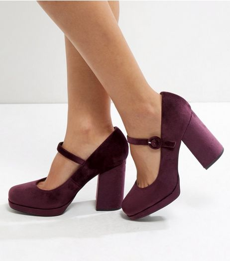 Wide Fit Dark Red Velvet Strap Front Platform Heels  | New Look
