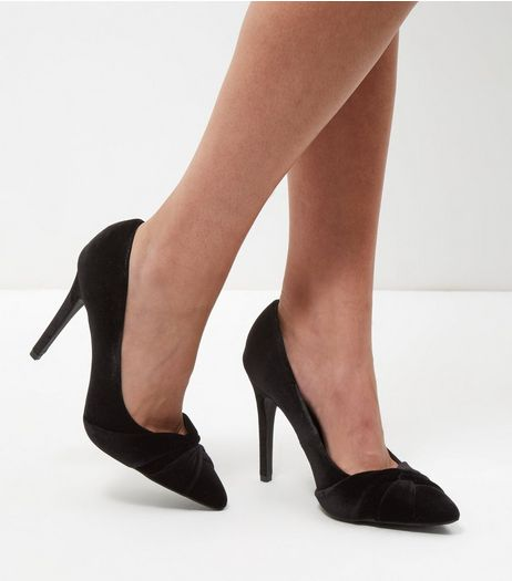 Wide Fit Black Velvet Twist Front Court Shoes | New Look