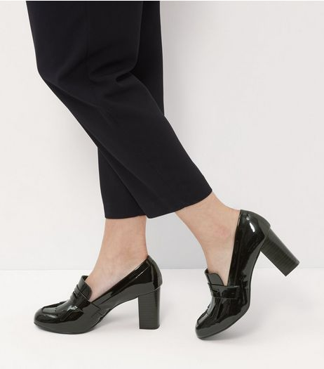 Wide Fit Black Comfort Patent Loafer Block Heels  | New Look