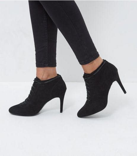Black Lace Up Heeled Boots | New Look