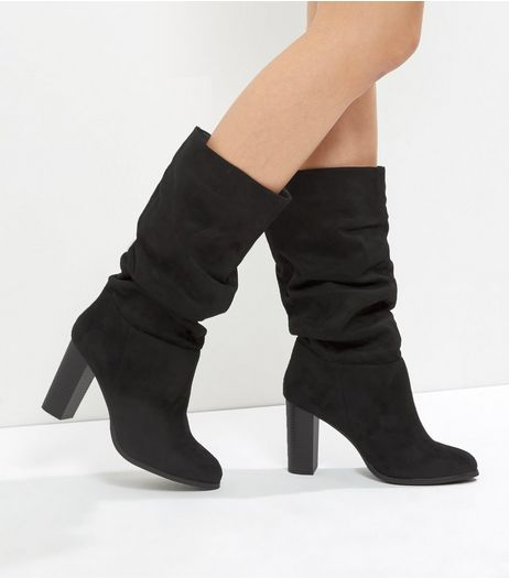 Wide Fit Black Suedette Ruched Top Heeled Boots | New Look