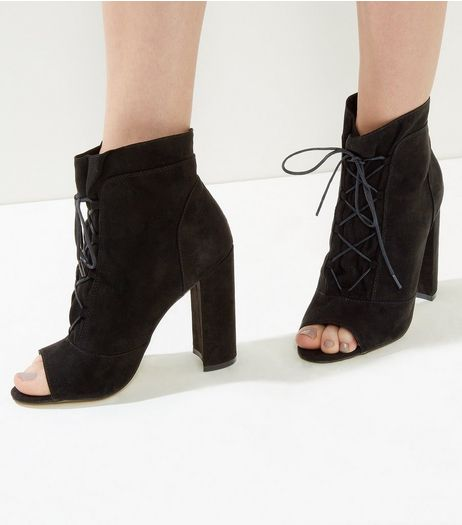 Black Suedette Lace Up Peep Toe Boots | New Look