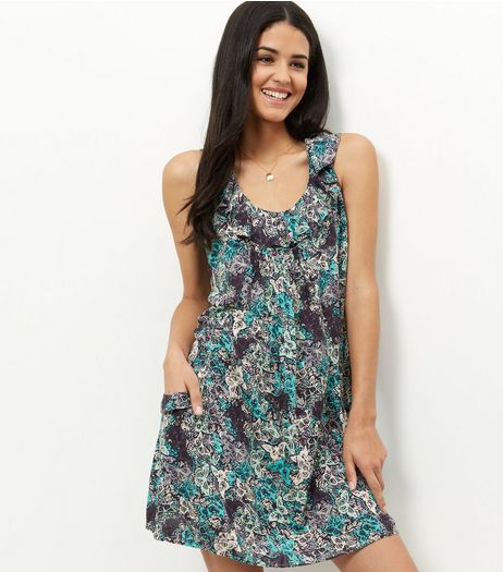 Apricot Blue Butterfly Print Ruffle Neck Dress | New Look