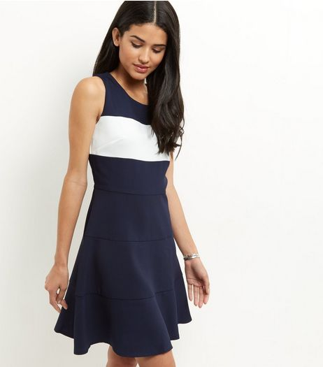 Apricot Navy Colour Block Skater Dress | New Look