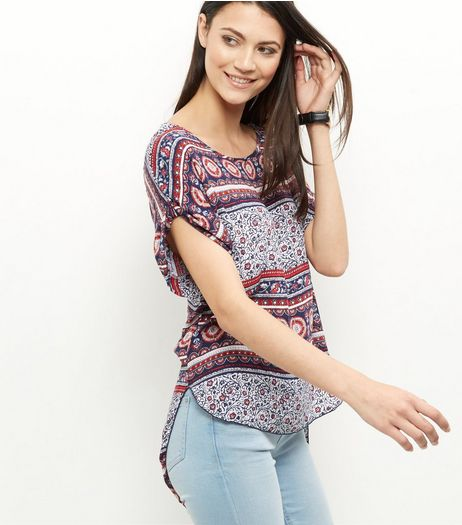 Apricot Blue Paisley Print Crochet Back Striped Top | New Look