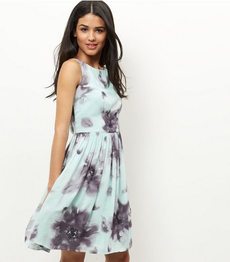 Apricot Mint Green Floral Print Pleated Dress | New Look