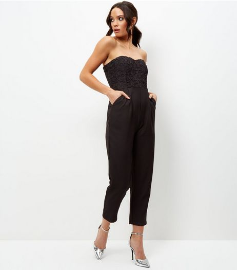 Black Lace Panel Sleeveless Culotte Jumpsuit  | New Look