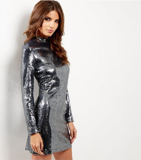 Silver Premium Sequin Funnel Neck Bodycon Dress | New Look