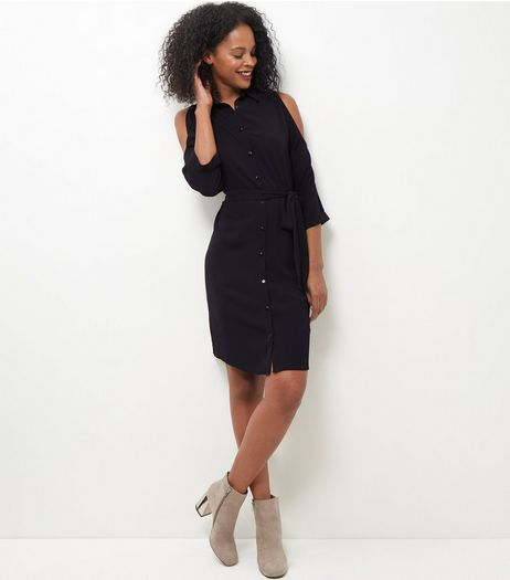 Black Cold Shoulder Shirt Dress | New Look