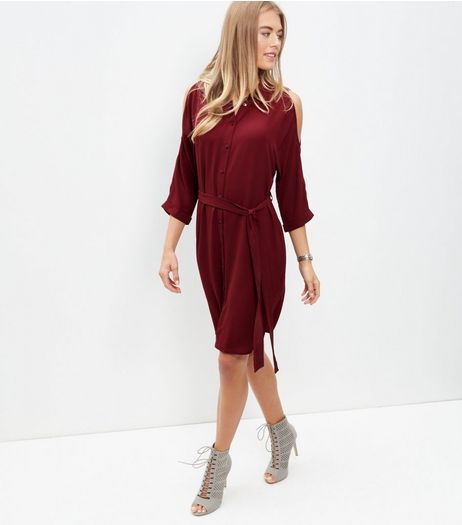 Burgundy Cold Shoulder Shirt Dress | New Look