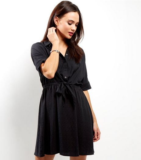 Black Tie Waist Shirt Dress | New Look