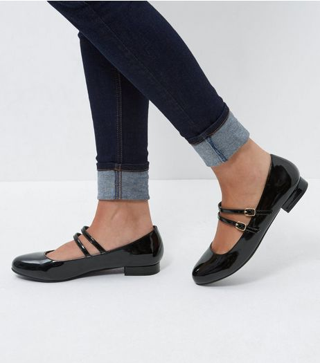 Wide Fit Black Double Strap Block Heel Pumps | New Look