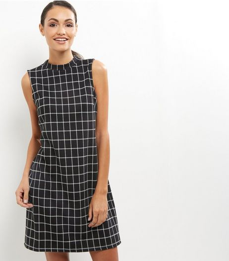Black Grid Print High Neck Tunic Dress | New Look
