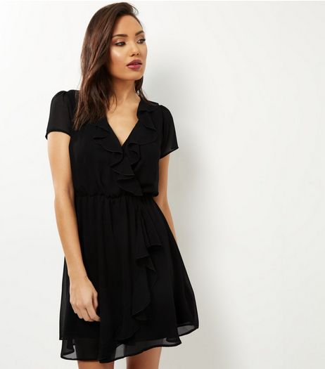 Black Chiffon Frill Trim Wrap Front Dress | New Look