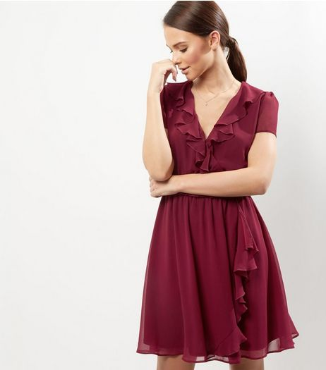 Dark Purple Chiffon Ruffle Wrap Dress | New Look