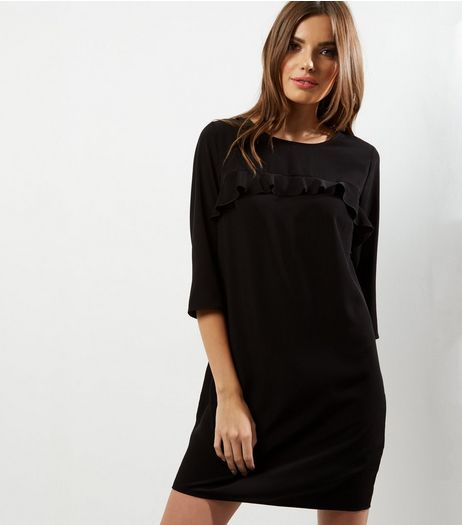 Black Yoke Frill Trim 1/2 Sleeve Tunic Dress | New Look