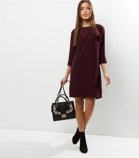 Burgundy Frill Trim 3/4 Sleeve Tunic Dress | New Look
