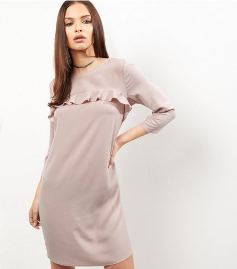 Mid Pink Frill Trim 3/4 Sleeve Tunic Dress  | New Look