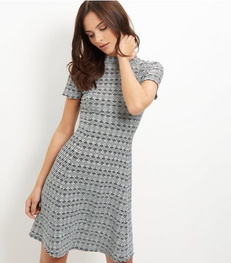 Black Jacquard Texture Funnel Neck Swing Dress | New Look