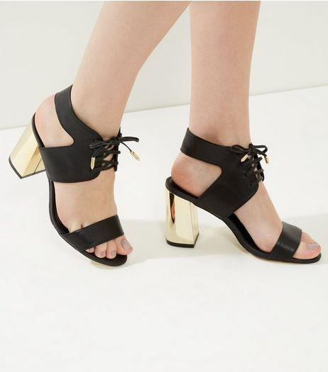 Black Lace Up Metal Block Heeled Sandals | New Look