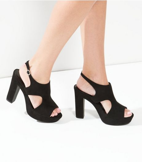 Black Suedette Cut Out Block Heels | New Look