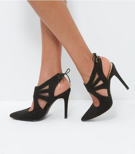Black Suedette Strappy Tie Back Heels | New Look